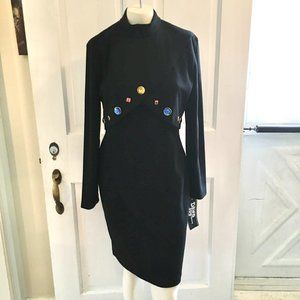 NWT VTG 1980's 90's MockNeck Jeweled Dress SZ M